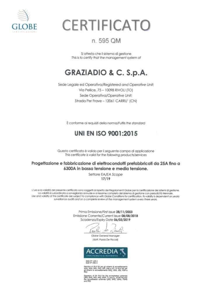 Graziadio certificato ISO 9001